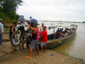 Crossing river in Colombia